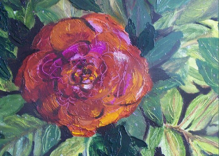 Flower Greeting Card featuring the painting Full Bloom by Pamela Wilson