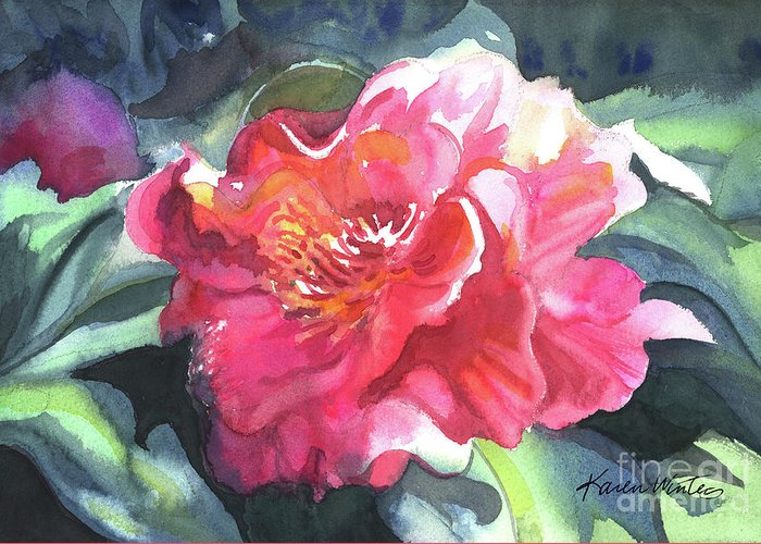 Camellia Greeting Card featuring the painting Full Blown by Karen Winters