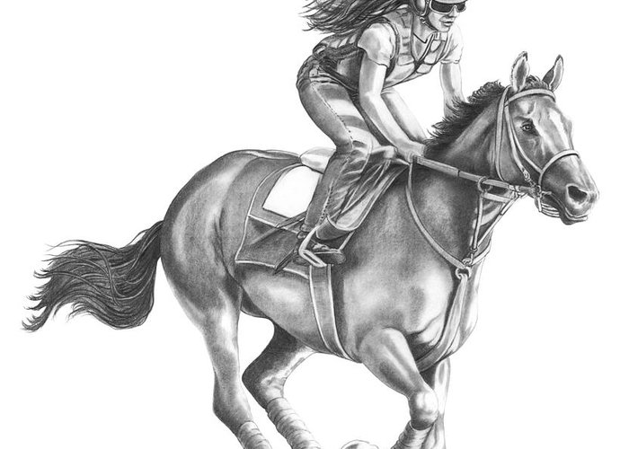 Horse Greeting Card featuring the drawing Full Gallop by Murphy Elliott