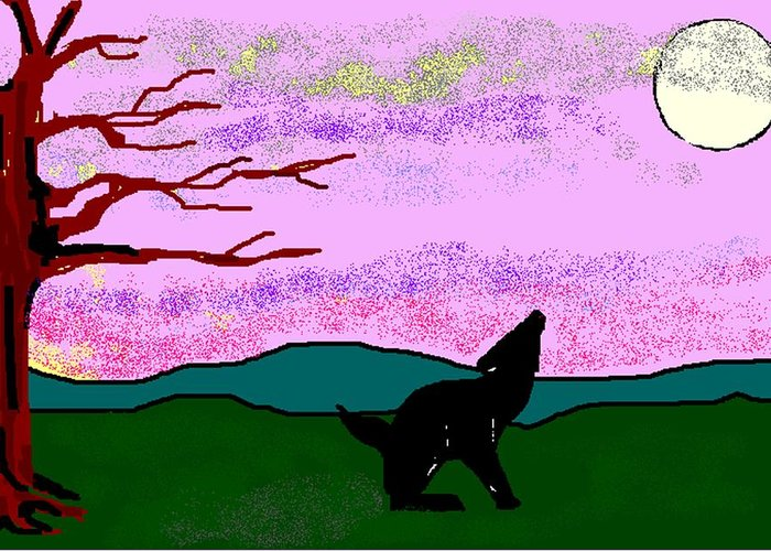 Coyote Greeting Card featuring the digital art Full Moon by Carole Boyd