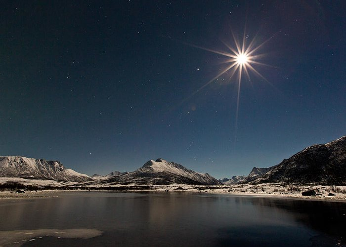 Landscape Greeting Card featuring the photograph Full Moon In The Arctic by Frank Olsen