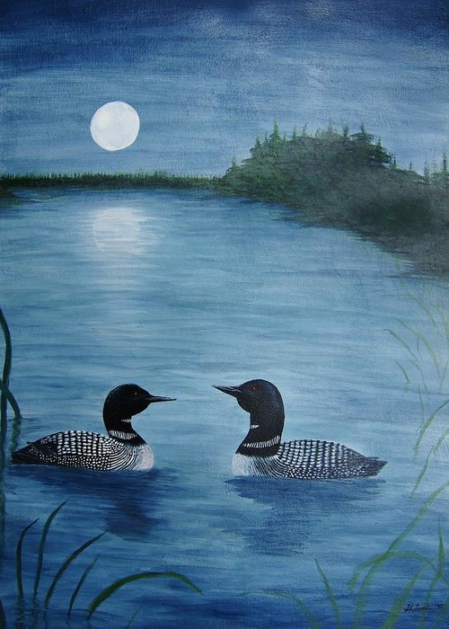 Loons Greeting Card featuring the painting Full Moon Loon by Sandra Lunde