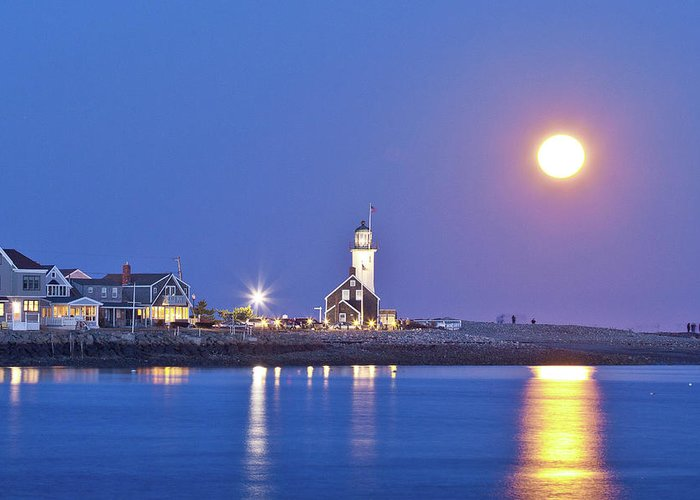 Lighthouse Greeting Card featuring the photograph Full Moon Over Scituate Light by Susan Cole Kelly