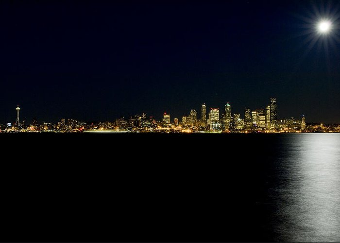 Seattle Greeting Card featuring the photograph Full Moon Refrection D061 by Yoshiki Nakamura