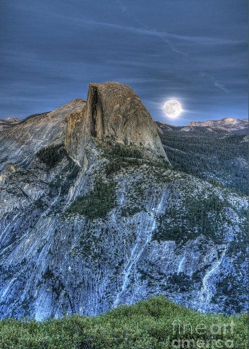 Half Dome Greeting Card featuring the photograph Full Moon Rising Behind Half Dome by Jim And Emily Bush