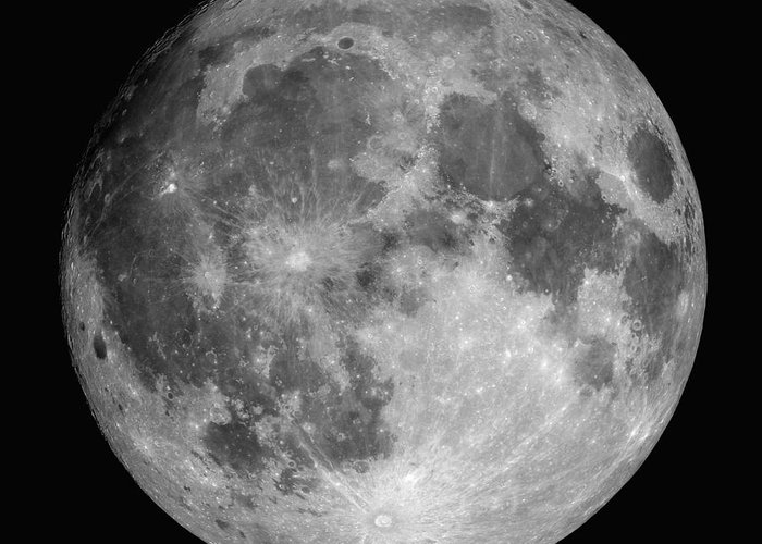 Hydrogen-alpha Greeting Card featuring the photograph Full Moon by Roth Ritter