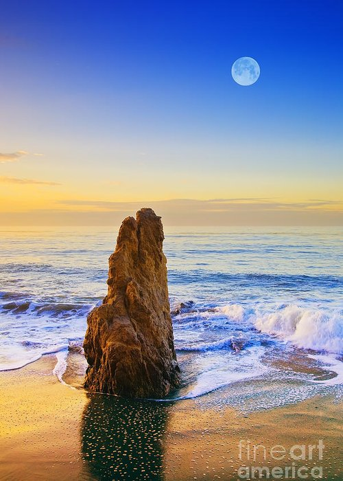 Beaches Greeting Card featuring the photograph Full Moon Setting by Greg Clure