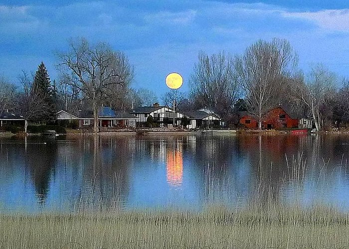 Water Moon Full Lake Sky Blue Amber Mirror Reflection Greeting Card featuring the photograph Full Moon Silver Lake by Suzi Holland
