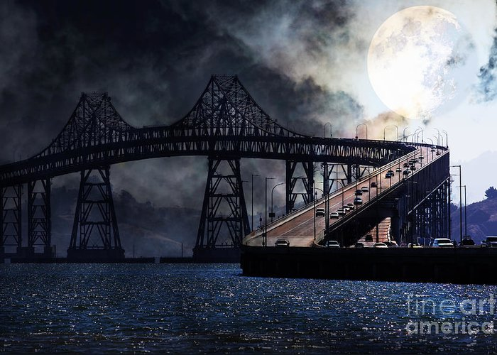 San Francisco Greeting Card featuring the photograph Full Moon Surreal Night At The Bay Area Richmond-san Rafael Bridge - 5d18440 by Wingsdomain Art and Photography