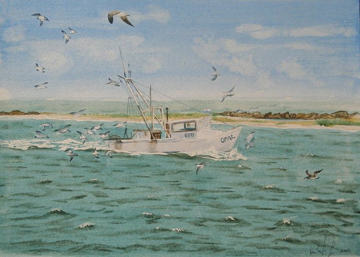 Seascape Greeting Card featuring the painting Full Nets by Monika Degan