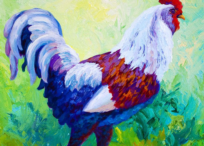 Rooster Greeting Card featuring the painting Full Of Himself by Marion Rose