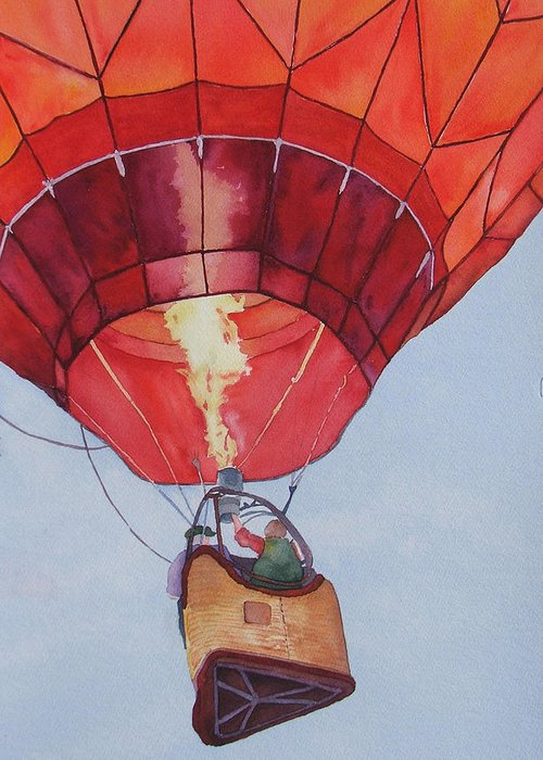 Balloons Greeting Card featuring the painting Full Of Hot Air by Judy Mercer