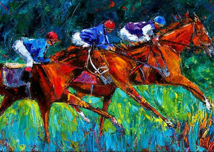 Horse Race Greeting Card featuring the painting Full Speed by Debra Hurd