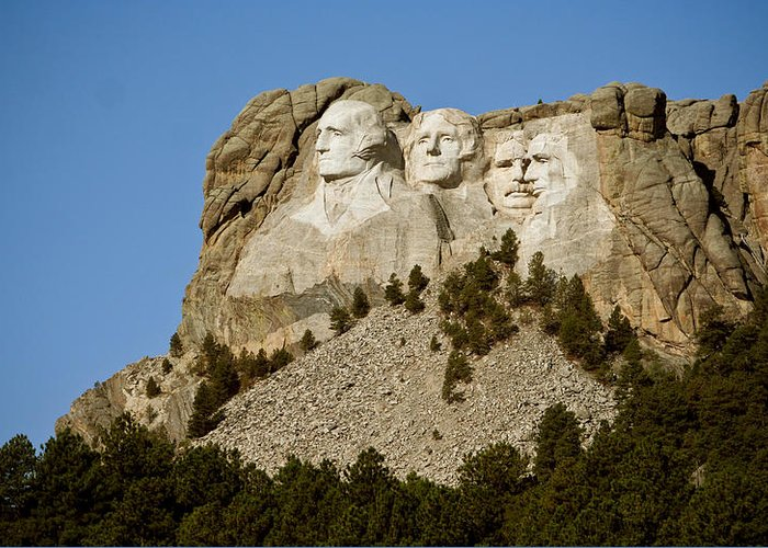 Mount Rushmore Greeting Card featuring the photograph Full View Rushmore by Mike Oistad