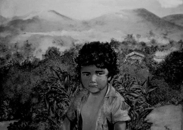 Boy Greeting Card featuring the painting Fumigando Al Nino by Fernando Armel