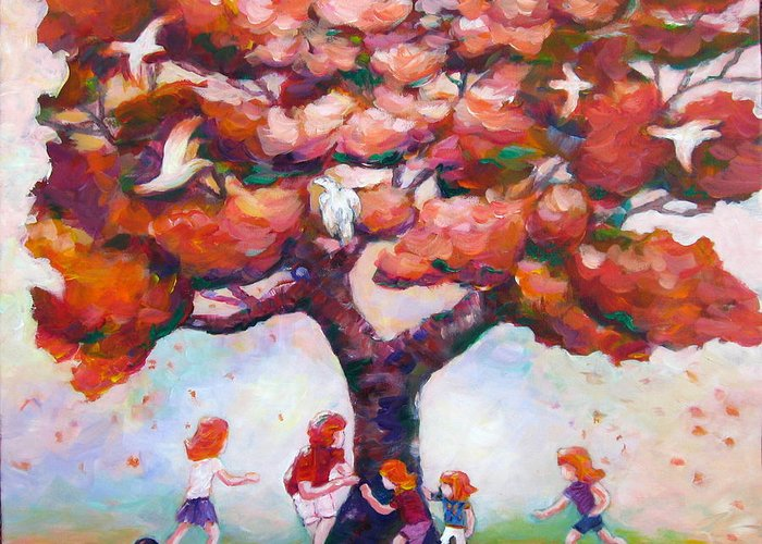 Colorful Greeting Card featuring the painting Fun around Our Favorite Tree by Naomi Gerrard