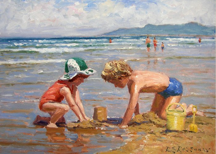 Seaside Greeting Card featuring the painting Fun At The Beach by Roelof Rossouw