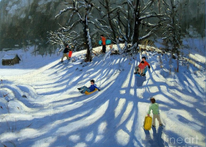 Winter Greeting Card featuring the painting Fun In The Snow by Andrew Macara