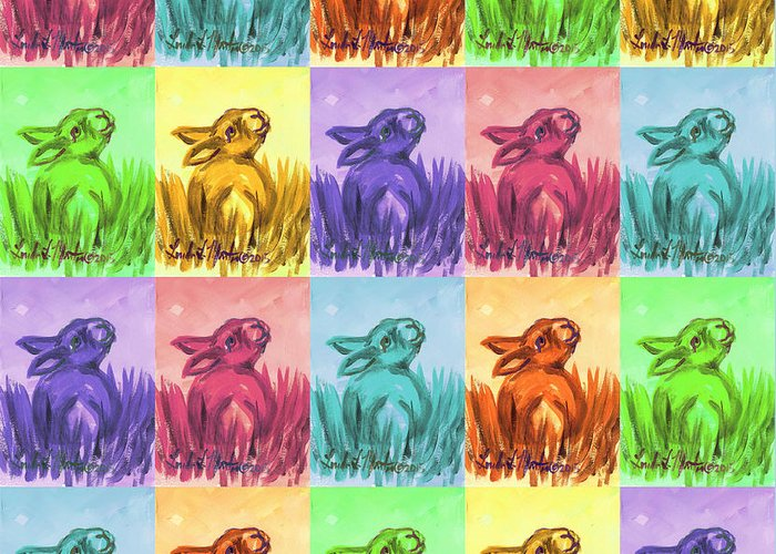 Rabbit Greeting Card featuring the painting Fun Spring Bunnies by Linda L Martin