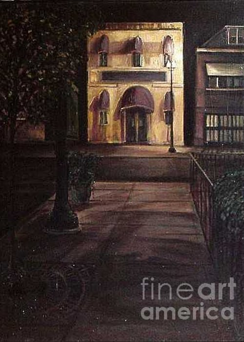 Chicago Greeting Card featuring the painting Funeral Home at Night by Christopher Buoscio