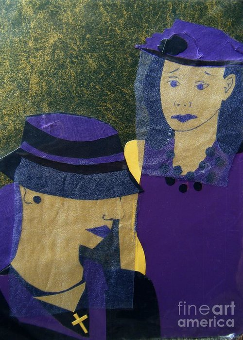Purple Greeting Card featuring the mixed media Funeral Masks by Debra Bretton Robinson