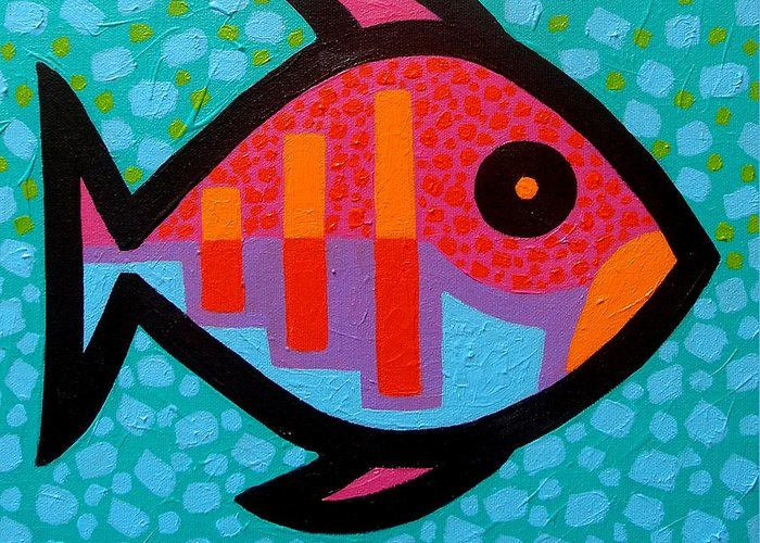 Fish Greeting Card featuring the painting Funky Fish IIi by John Nolan