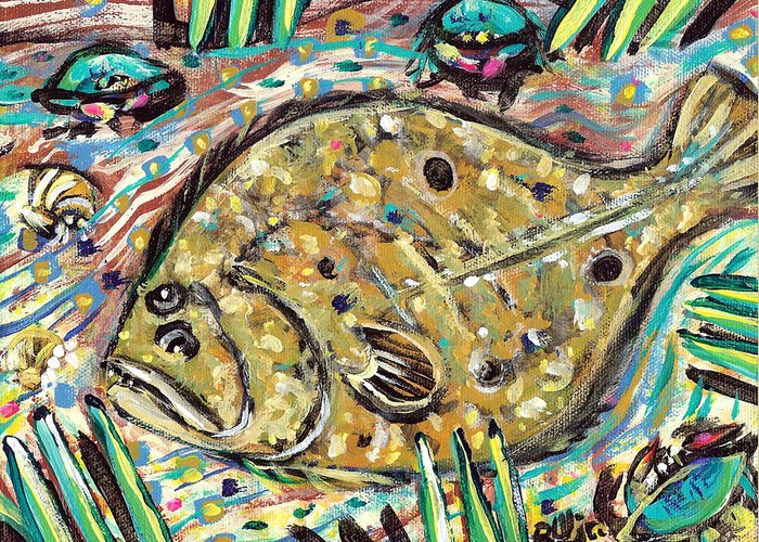 Rwjr Greeting Card featuring the painting Funky Folk Flounder by Robert Wolverton Jr