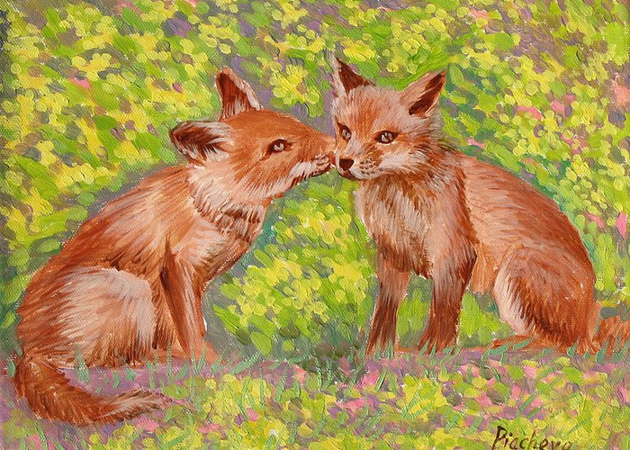 Animals Greeting Card featuring the painting Funny Foxes .2007 by Natalia Piacheva