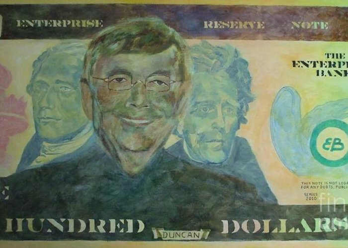 Money Greeting Card featuring the painting Funny Money by Claire Gagnon