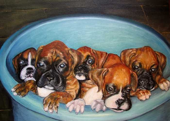 Oil Greeting Card featuring the painting Funny Puppies Orginal Oil Painting by Natalja Picugina
