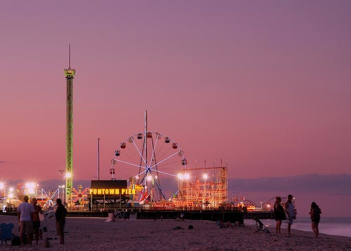 Funtown Pier At Sunset Greeting Card featuring the photograph Funtown Pier At Sunset IIi - Jersey Shore by Angie Tirado