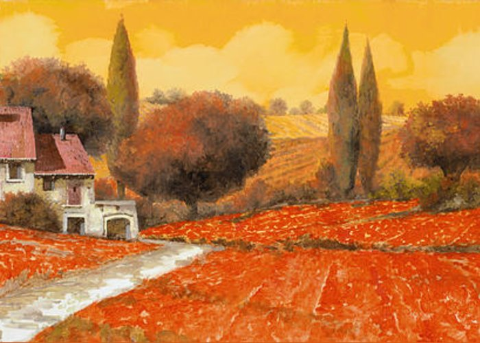 Tuscany Greeting Card featuring the painting fuoco di Toscana by Guido Borelli