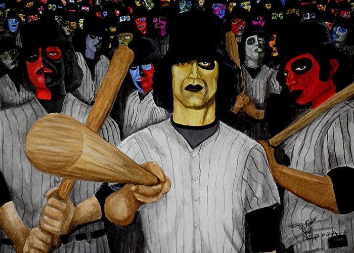 Baseball Greeting Card featuring the painting Furies Up To Bat by Al Molina
