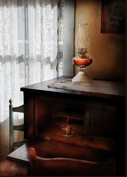 Hdr Greeting Card featuring the photograph Furniture - Lamp - I Used To Write Letters by Mike Savad