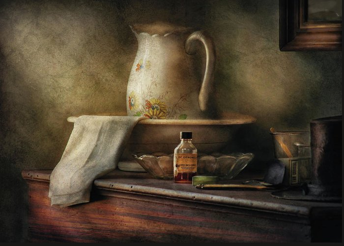 Savad Greeting Card featuring the photograph Furniture - Table - The Water Pitcher by Mike Savad