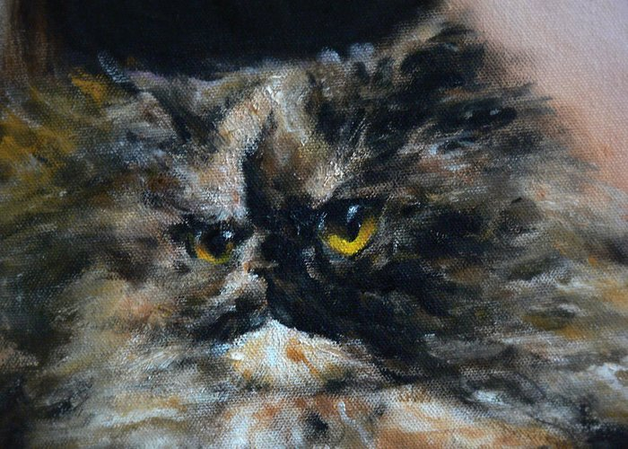 Cat Greeting Card featuring the painting Furry 2 by Valeriy Mavlo