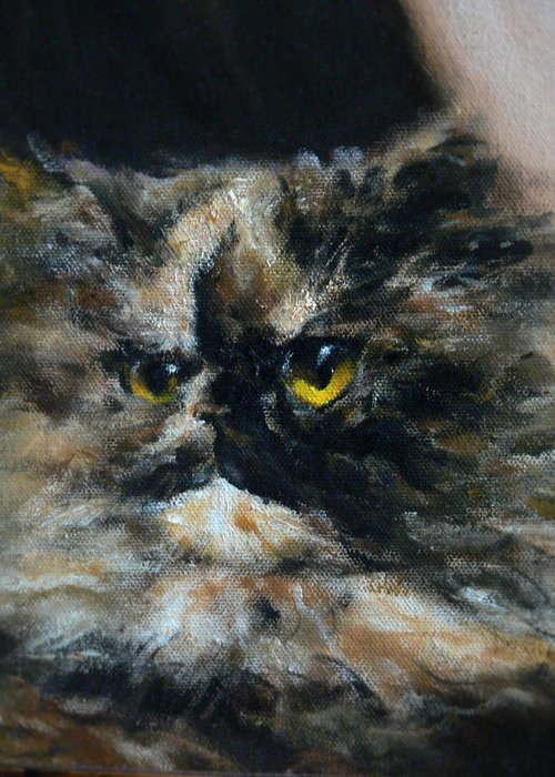 Cat Greeting Card featuring the painting Furry by Valeriy Mavlo
