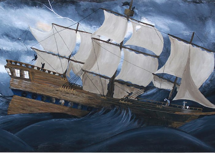 Ship Greeting Card featuring the painting Fury by Tammy Dunn