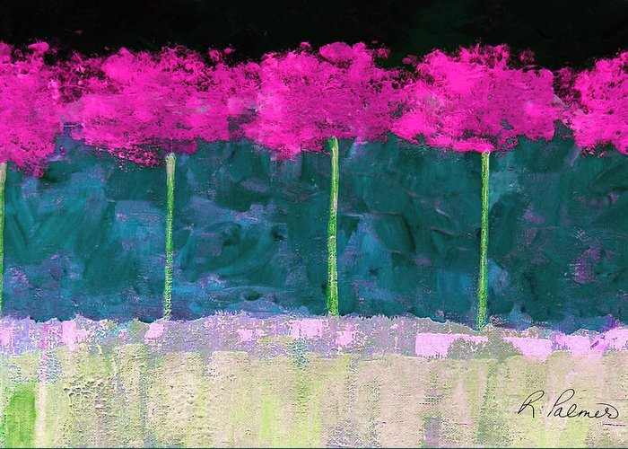 Abstract Greeting Card featuring the painting Fuschia Trees by Ruth Palmer