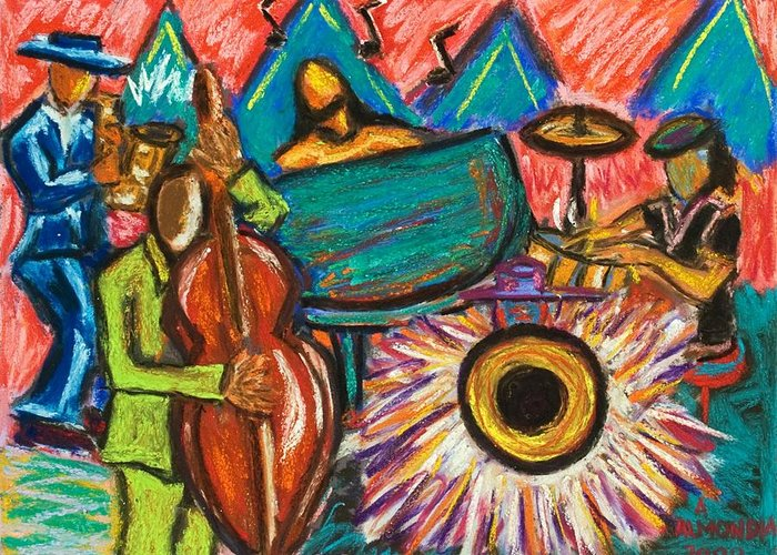 Jazz Greeting Card featuring the painting Fusion by Albert Almondia