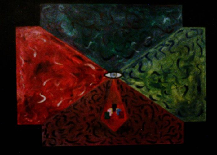Geometric Art Greeting Card featuring the painting Future Doors by Guillermo Mason