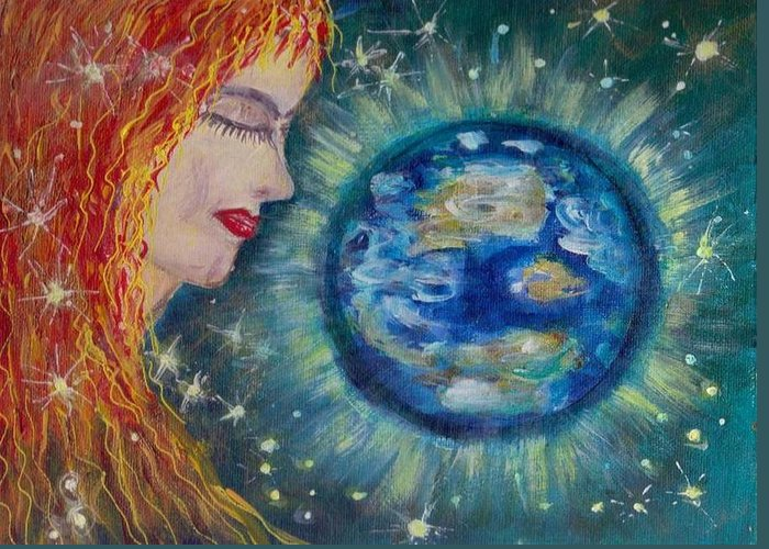 Mary Sedici Greeting Card featuring the painting Gaia by Mary Sedici