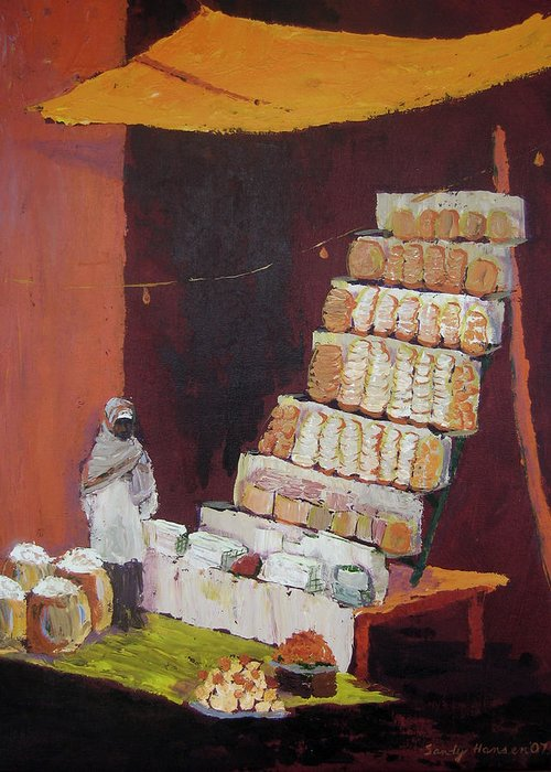 Cityscape Greeting Card featuring the painting Gajak Sweet Shop by Art Nomad Sandra Hansen