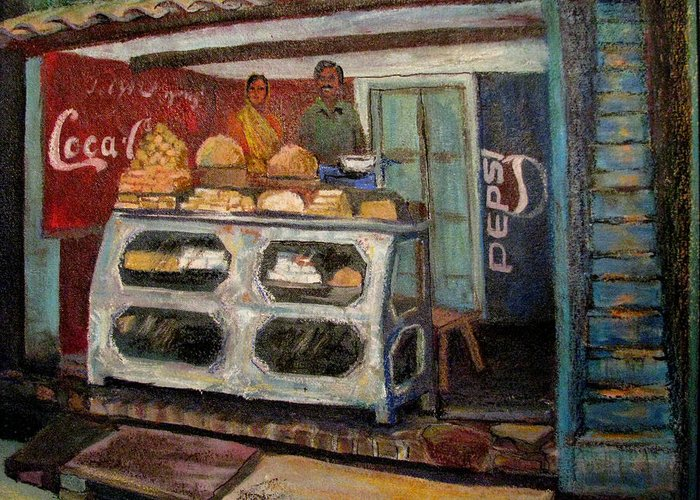 Gajak Greeting Card featuring the painting Gajak Sweet Shop Orchha by Art Nomad Sandra Hansen