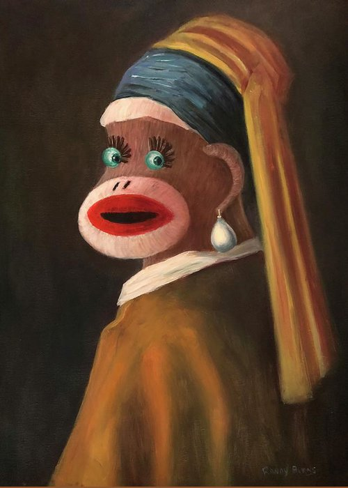 Sock Monkey Greeting Card featuring the painting Gal With A Pearl Earring by Randy Burns