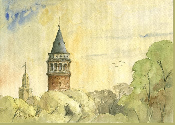 Galata Tower Greeting Cards