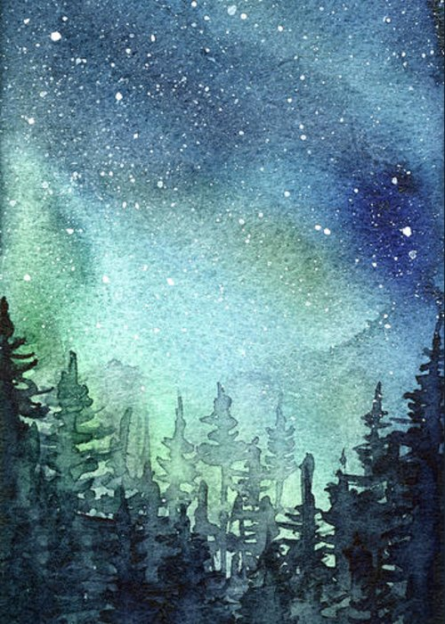 Watercolor Galaxy Greeting Card featuring the painting Galaxy Watercolor Aurora Painting by Olga Shvartsur
