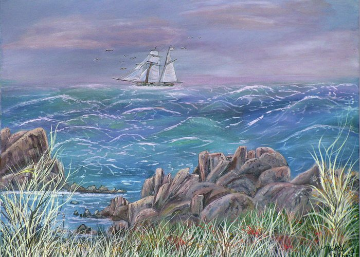 Seascape Greeting Card featuring the painting Gale in My Salie by Mikki Alhart