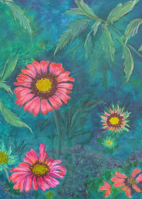 Garden Greeting Card featuring the painting Gallardia by Peggy King