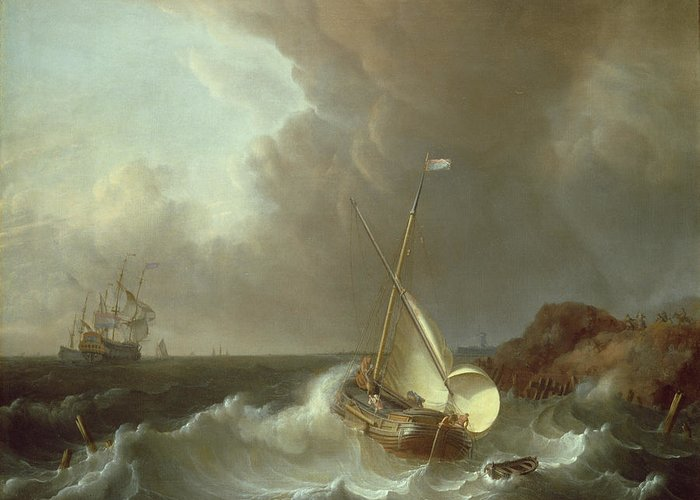 Galleon Greeting Card featuring the painting Galleon In Stormy Seas  by Jan Claes Rietschoof